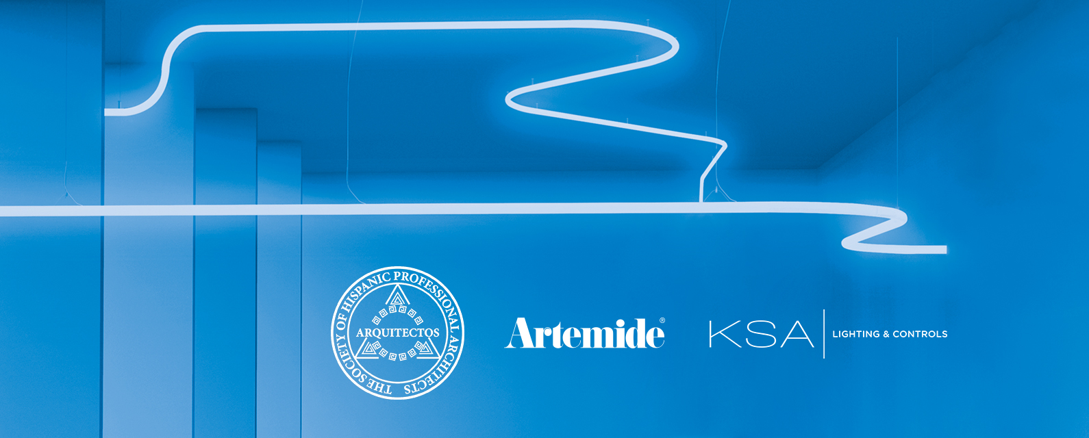 Alphabet of Light recessed and suspension with a blue background. Artemide introducing Alphabet of light system. Artemide & KSA Lighting & Controls to Host Arquitectos General Body Meeting in Chicago