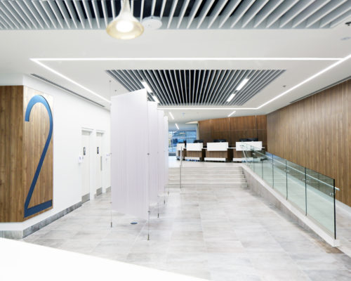 One Hear Care - Cardiology medical healthcare center. Installation of unterlinden suspension, 2.5 square on the ceiling and Algoritmo recessed system version